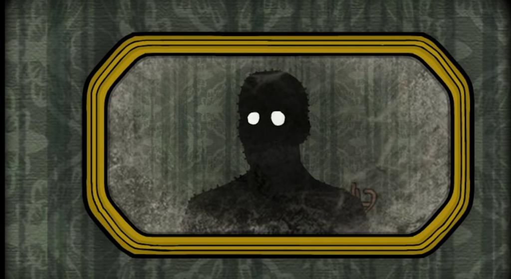 Un miroir dans lequel une ombre humanoïde aux yeux brillants se regarde.