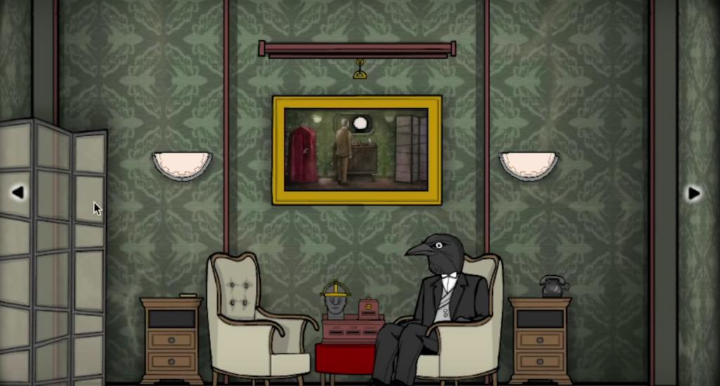 Une pièce vieillote avec au centre un homme à tête de corbeau assis dans un fauteuil.