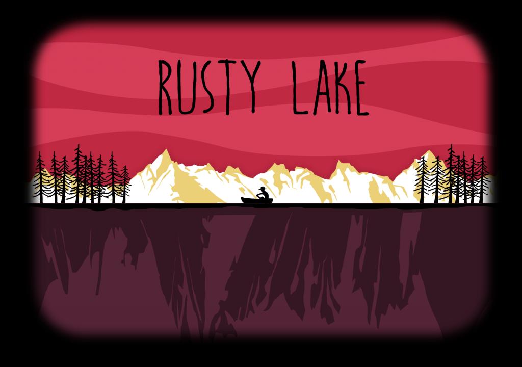 Dessin d'un homme sur une barque sur un lac vu de loin. Titre de Rusty Lake au dessus de l'image.