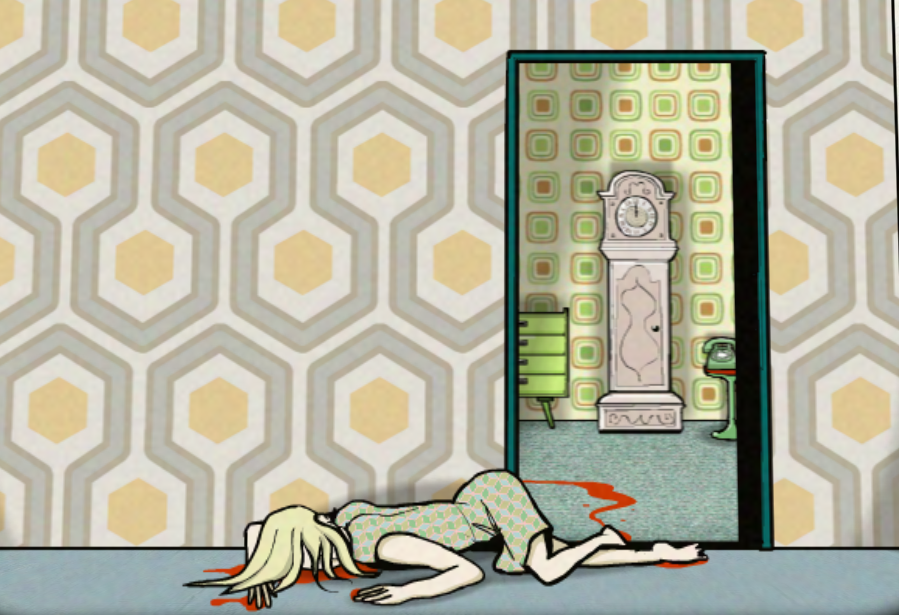 Un cadavre de femme sur le ventre avec des traces de sang dans une pièce.