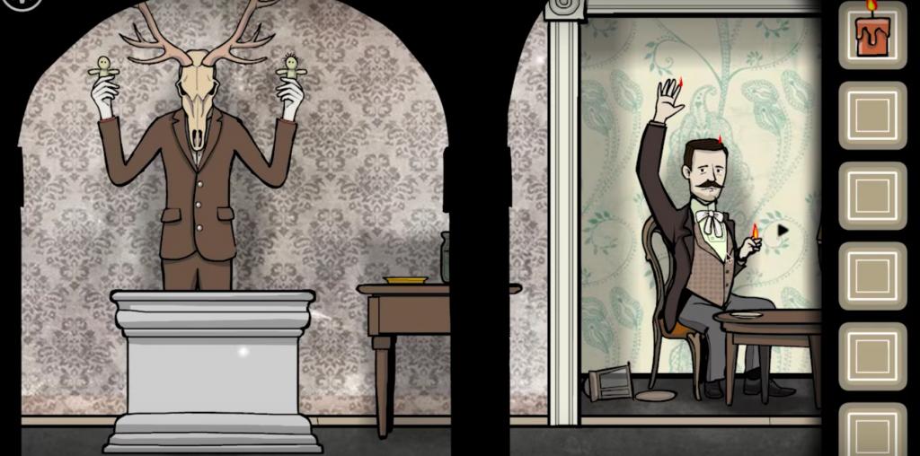 Une salle avec à gauche un homme à tête de cerf tenant des poupées vaudou et à droite un homme qui brûle à certains endroits du corps.