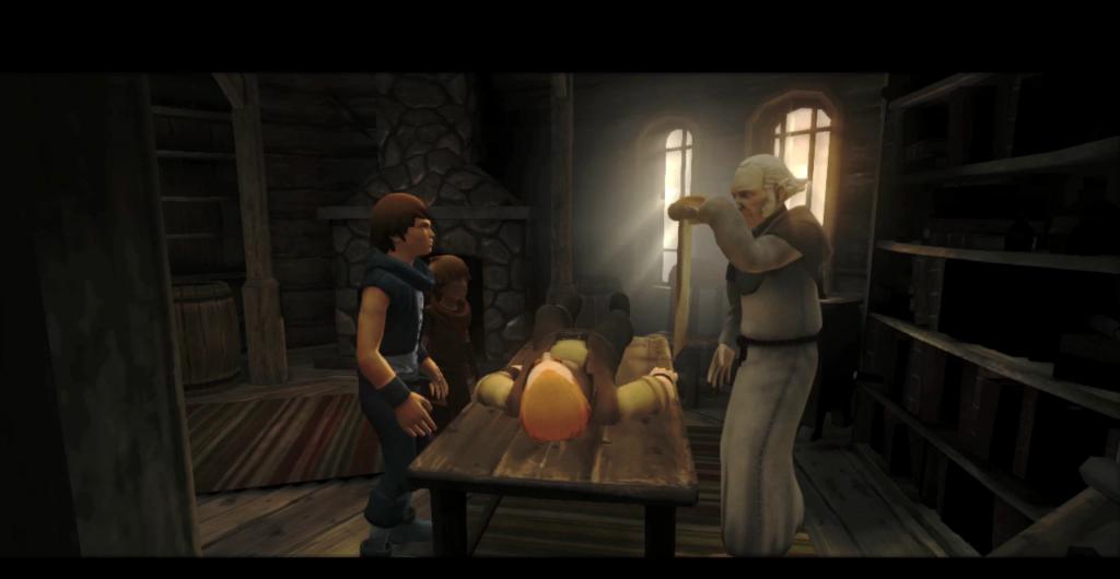 Le père est allongé au centre sur une table en bois. Le vieux médecin à droite montre un parchemin aux frères qui sont à droite.