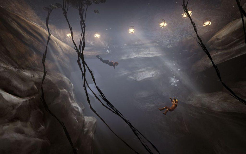 Sous la surface d'un lac, on voit à droite le corps du petit frère qui coule et à gauche le grand frère qui nage pour le sauver.