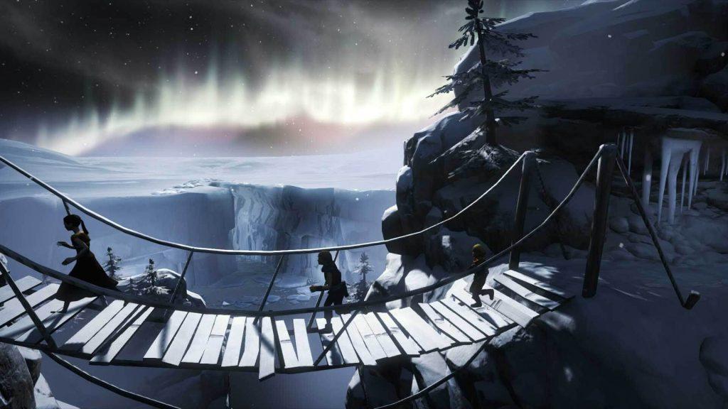 3 silhouettes en contre jour courrent sur un pont suspendu avec une aurore boréale en fond dans le ciel.