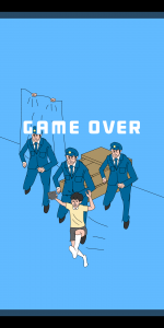 """3 policiers pourchassent le garçon avec """"game over"""" écrit sur l'écran."""