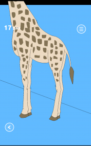 Un girafe dont la tête dépasse du cadre de l'image.