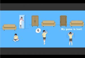 Gauche : le garçon joue assis par terre à son jeu, sa mère le regarde derrière. Centre : le garçon se demande où est son jeu. Droite : le garçon paniqué s'exclame que son jeu est perdu.