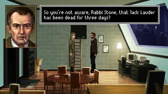 Dans le bureau du rabbin, un policier l'interroge.
