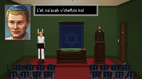 un jeune homme en robe blanche et kippa s'exprime en hébreu dans la synagogue vide