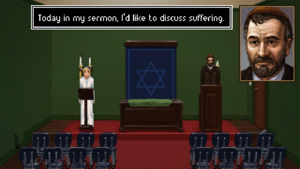 Le rabbin s'apprête à faire un sermon sur la souffrance, devant une salle vide