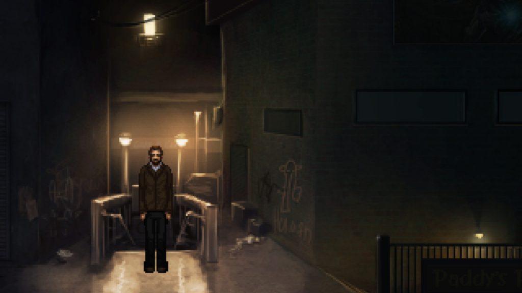 Le rabbin se tient dans une allée sombre, près d'une entrée de métro, des graffitis pleins les murs