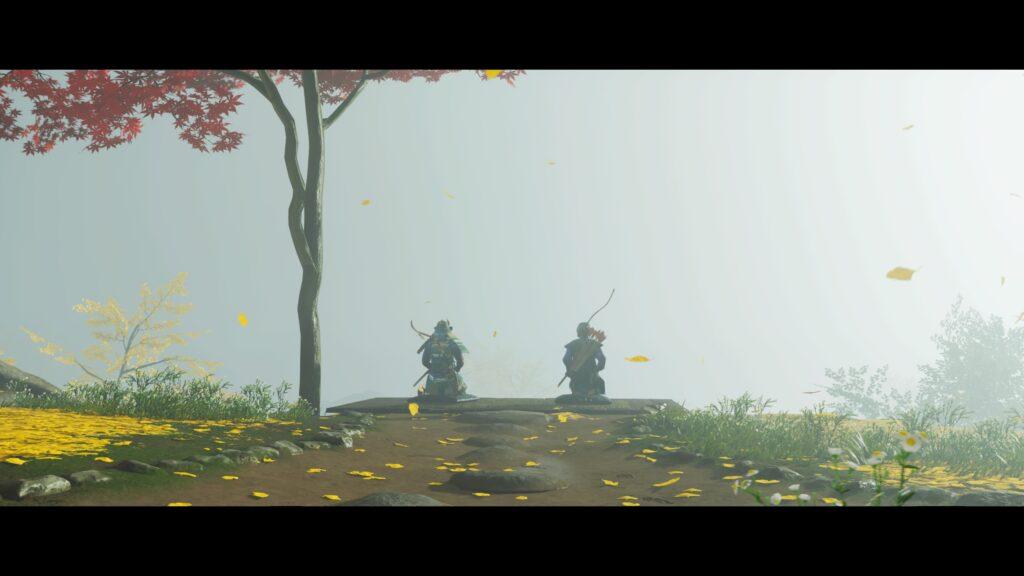 Jin et Masako sont assis de dos au bord d'une falaise dans un plan large