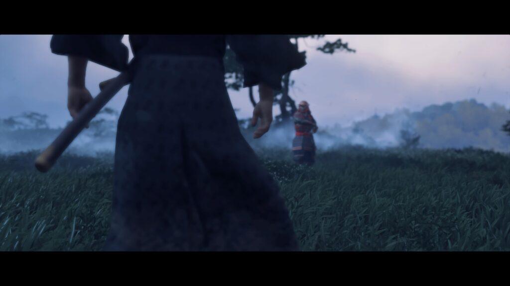 gros plan sur le dos de Jin et son épée lors d'un duel