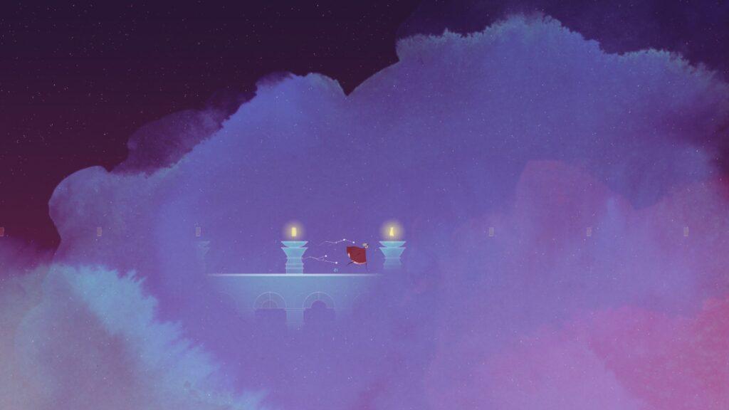 Image du personnage courant sur un pont au milieu d'une brume violette qui englobe tout